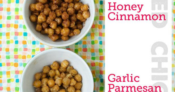 Healthy Snack: Roasted chickpeas prepared four different ways. Choose savory (sesame soy,