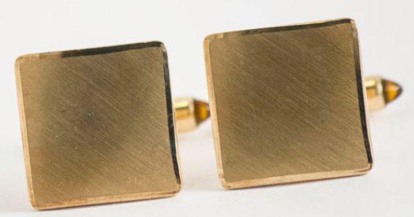 Vintage Cufflinks Classic Gold Tone Metal Cuff by CuffsandClips