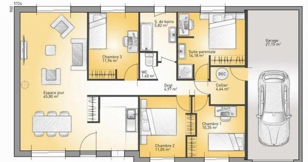 Maison contemporaine 110m2 maison moderne for Plan maison moderne 110m2