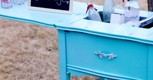 Sewing Table Turned Cooler and Drink Table. Cute idea.