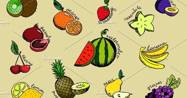 Set of handdrawn cartoon fruit icons by hlivnyk