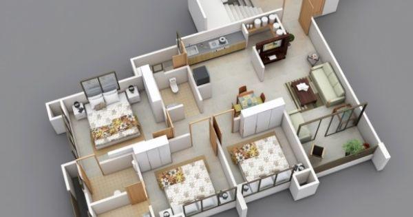 Denah apartemen 3 kamar tidur minimalis 3d 2 rumah luas for Design apartemen 2 kamar tidur