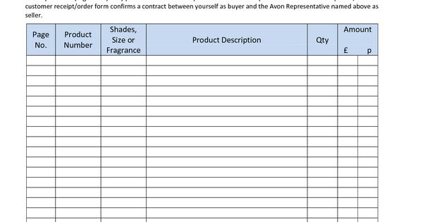 avon order form online related keywords - avon order form online, Invoice templates