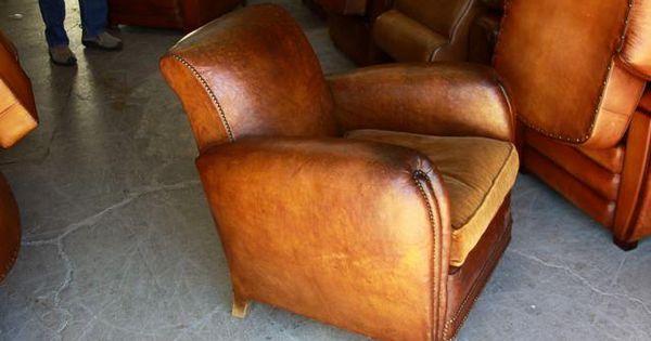 Parisian Leather Club Chairs Circa 1920 At Vintageweave