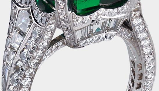 Faberge Emerald and Diamond Ring with center Gemfields Emerald