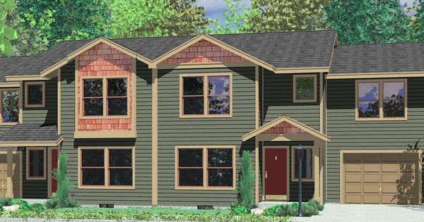 House front color elevation view for fv 567 five plex 5 for Row house front elevation