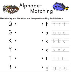 Alphabet matching worksheet generator, a different one every ...