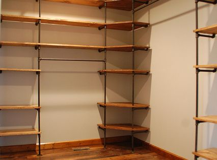 DIY piping and wood shelving for closets or anywhere really. These are
