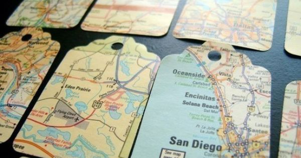 Vintage Map Gift Tags