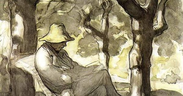 Honoré Daumier, A Man Reading in a Garden, c. 1866-68. reading books