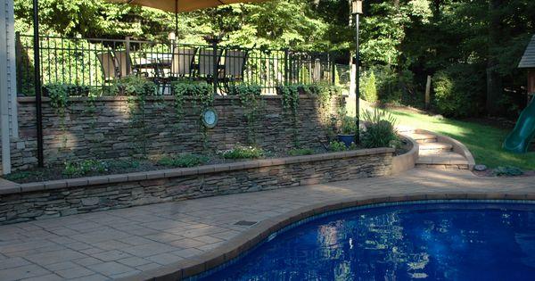 Resurfaced Concrete Pool Deck Cultured Stone Veneer