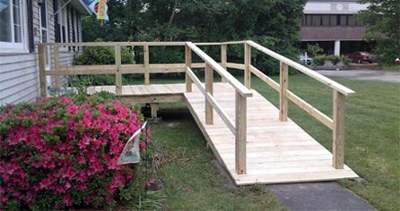 Wheelchair ramps from mobile home bing images home for Building a wheelchair accessible home