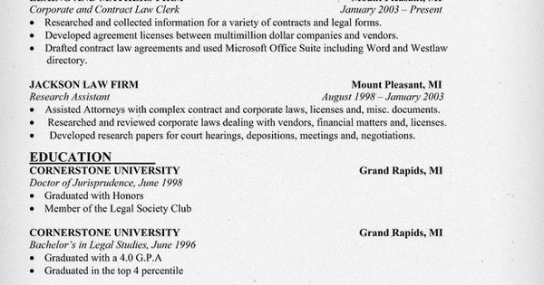 corporate and contract law clerk resume sample