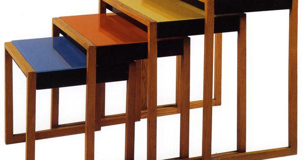 Josef Albers Set Of Stacking Tables Ca 1927 Ash Veneer