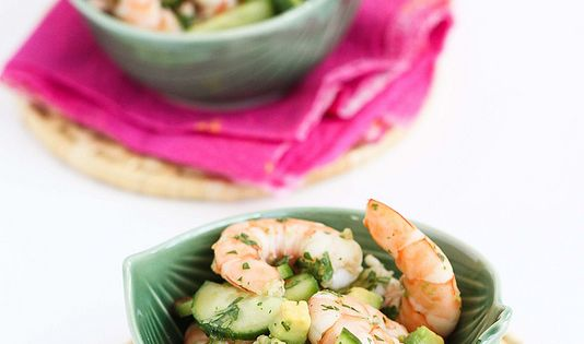 10-Minute Thai Shrimp, Cucumber Avocado Salad Recipe. This looks good for a