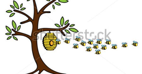 Cartoon Drawings Of Trees Funny Cute Cartoon Bees Flying Away From The Bee Hive On A Tree Cartoon Bee Tree Drawing Bee
