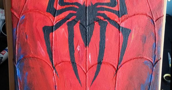 Spider Man Logo Acrylic Painting On Canvas With Embossed