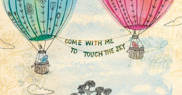 hot air balloons doodle