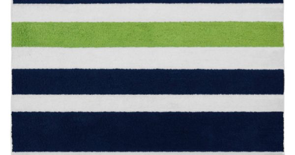 Modern White Navy And Lime Striped Accent Floor Rug By