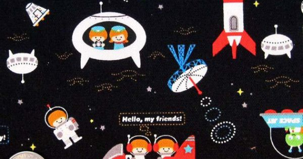 Kokka trefle spacecraft japanese space ships on black for Space mission fabric