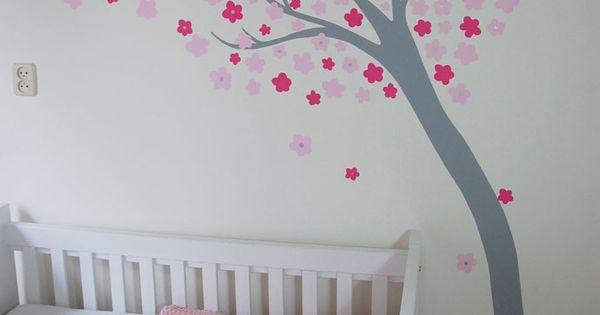 Bloemetjesboom meisjeskamer muurschildering het ontwerp van deze moderne boom is ontleend aan - Ontwerp muurschildering ...