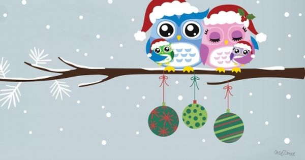 Merry Christmas Owl Family Desktop Nexus Wallpapers Christmas Owls Owl Wallpaper Owl Family
