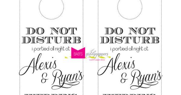 Wedding do not disturb door hanger by beccaannbonddesigns on etsy invitations paper - Diy do not disturb door hanger ...