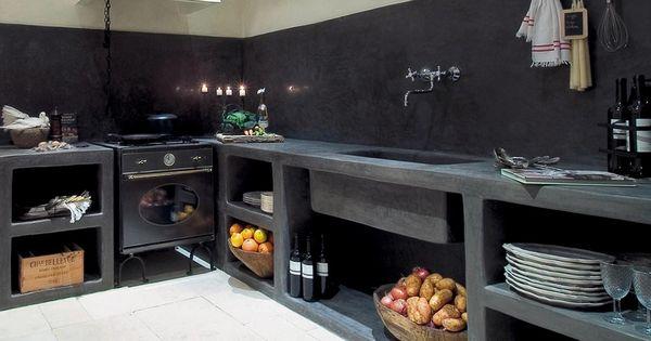 Damask cuisine tadelakt kitchen interiors pinterest for Tadelakt cuisine
