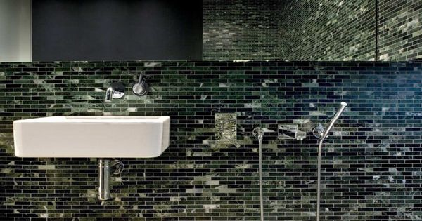 Modern Bathroom, mosaic tile in dark greens ~ ODOS bathroom design ideas