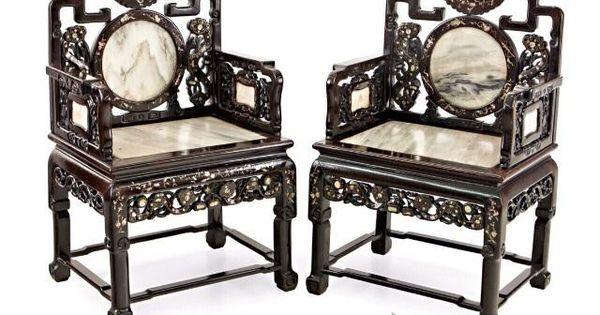 Antigua pareja sillones china madera m rmol muebles - Reciclar marmol ...