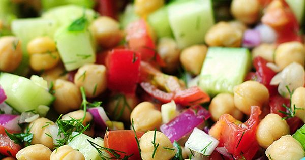 ---Cucumber and Chickpea Salad--- 3T olive oil 16oz Chick Peas, drained .5