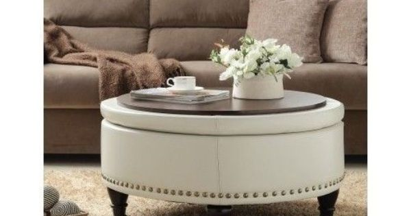 Round bassett ottoman bonded leather storage sofa couch footstool coffee table ottomans Round ottoman coffee table with storage