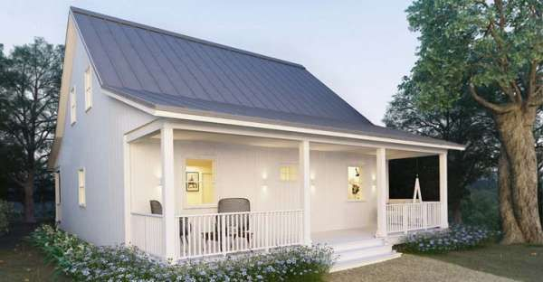 This Simple But Elegant Tiny House With Perfect Front Porch Is Ideal For Small Family Small Cottage House Plans Small Cottage Homes Small Farmhouse Plans