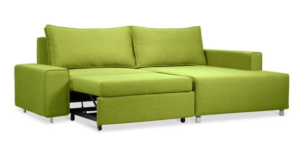 Lime sofa that turns into a bed.
