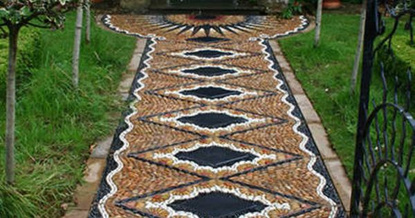 Magnificient stone mosaic stone pathway.
