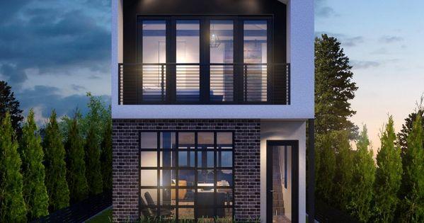 Dise o de moderna casa de dos pisos construida en terreno for Fachadas casas de dos pisos pequenas