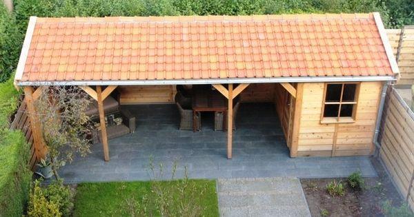 Tuinhuis berging of schuur met zadeldak met overkapping for Gartengestaltung jaspers