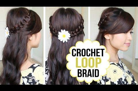 Crochet Loop Braid Hair Tutorial Half Updo Prom Hairstyle Braided Hairstyles Tutorials Easy Hair Tutorial Braided Hair Tutorial