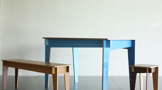 Pierre Guillou En bois table Plywood Cabinets Table