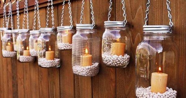 Mason Jar Lanterns Hanging Tea Light Luminaries - Set of diy fashion