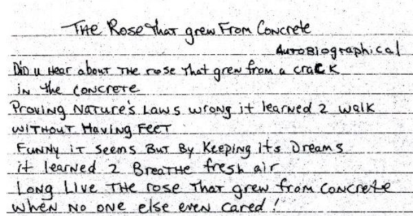 From Tupacs Book In His Own Handwriting With Images Tupac
