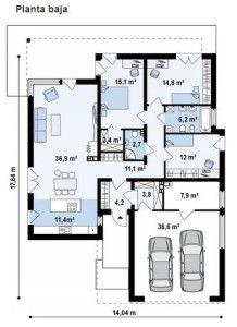 Plano Y Fachada De Casa Moderna De 3 Dormitorios 1 Planta 2 Planos De Casas Planos De Casas Modernas Planos De Casas Mediterraneas
