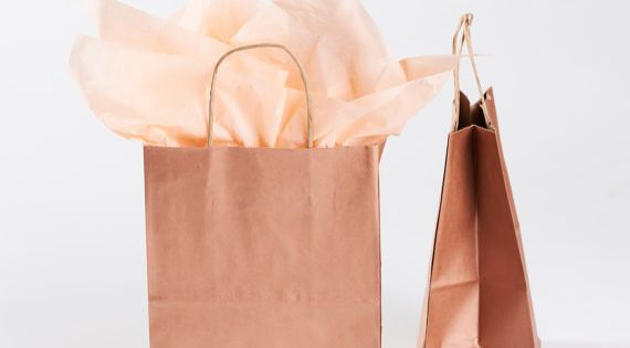 20 Metallic Rose Gold Gift Bags with Handles - size Cub ...