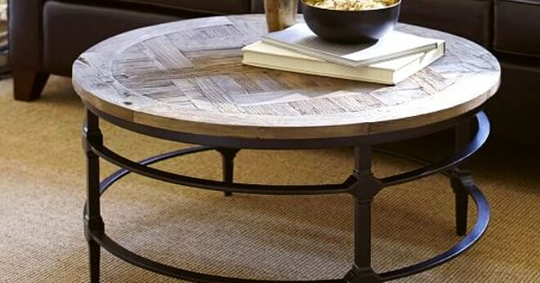 Reclaimed Wood And Iron Round Coffee Table Pottery Barn Home Pinterest Round Coffee