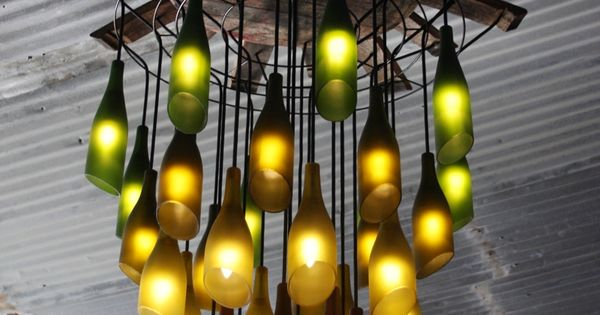 recycled wine bottle chandelier wine winebottles DIY