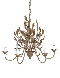 Oak Leaf Chandelier 6 Arm Rust With