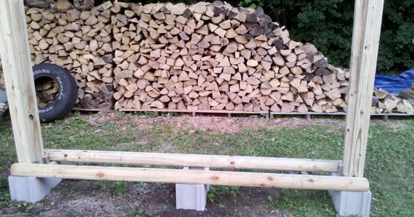 No Tool Firewood Rack Just Some Cinder Blocks 2x4s And