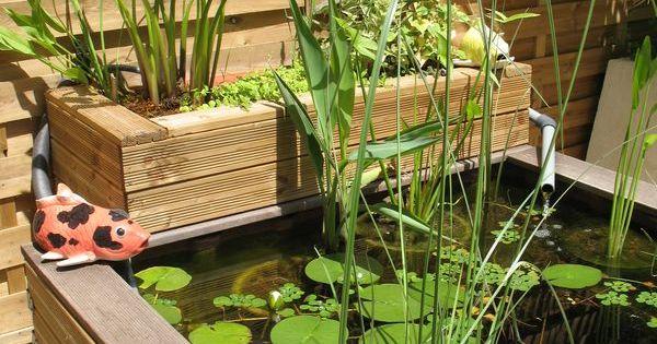 Un petit bassin de jardin ou terrasse des galets blancs - Terrasse galets blancs ...