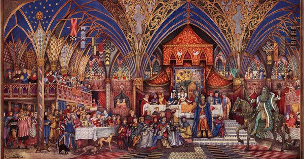 Sire gauvain et le chevalier vert illustration par william - Tristan le chevalier de la table ronde ...