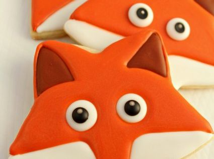 fox cookies - made with star shaped cookie cutter.
